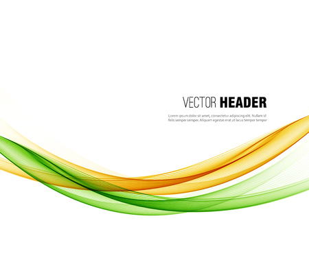 Abstract vector wave background, green and orange waved lines for design brochure, website