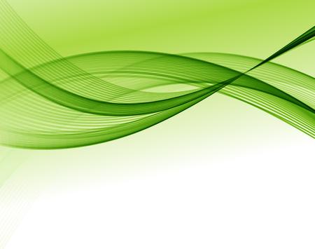 パンフレットのデザイン、ベクトル波背景、緑手を振ってラインを抽象的なウェブサイト