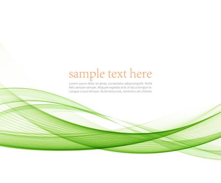 抽象的な緑色の波線。 カラフルなベクトルの背景