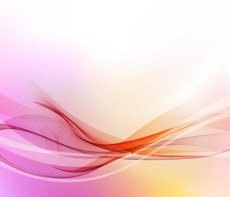 抽象的な動き滑らかな色の波ベクトル。曲線の赤とオレンジのライン