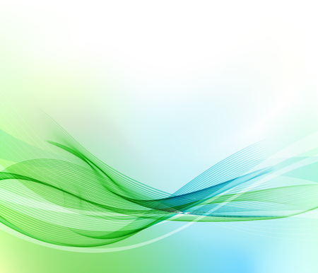 Abstract blue and green wavy lines.  Colorful vector background