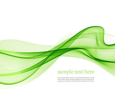 Abstract green wavy lines.  Colorful vector background Ilustração