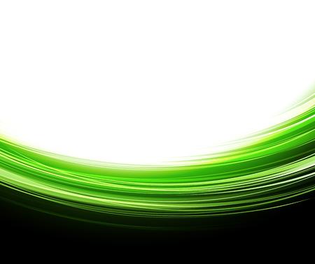 緑の線。抽象的なベクトルの背景。緑の波