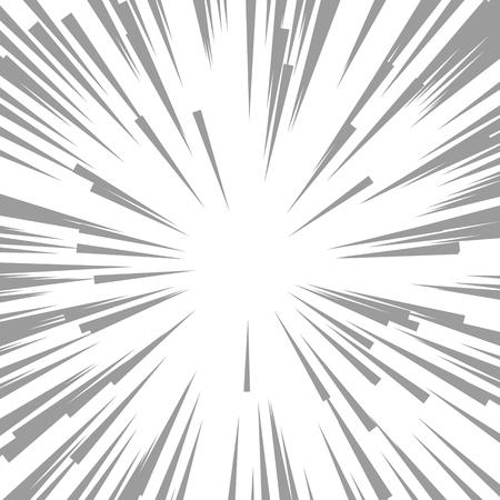 コミックの放射状の速度ライン。スピード ラインのグラフィック爆発。コミック デザイン要素。ベクトルの図。爆発ベクトル イラスト広場戦うス