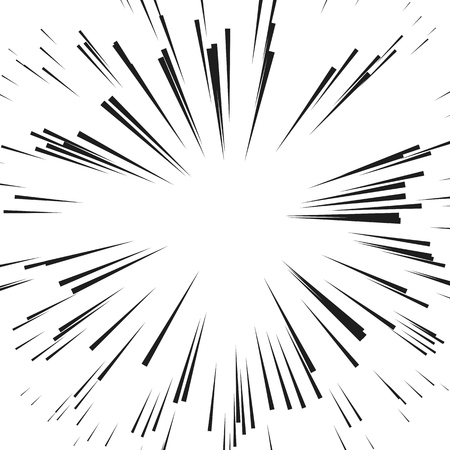 Comic Radial Speed Lines. Graphic Explosion with Speed Lines. Vettoriali