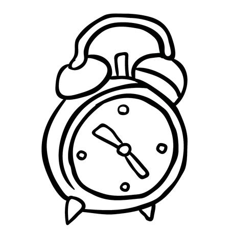 clock cartoon: simple black and white alarm clock cartoon Illustration
