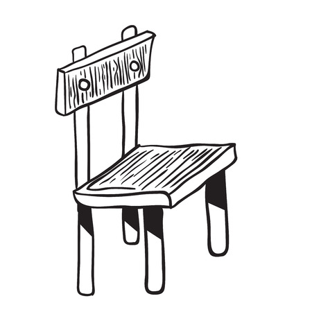 wooden chair: wooden chair doodle cartoon