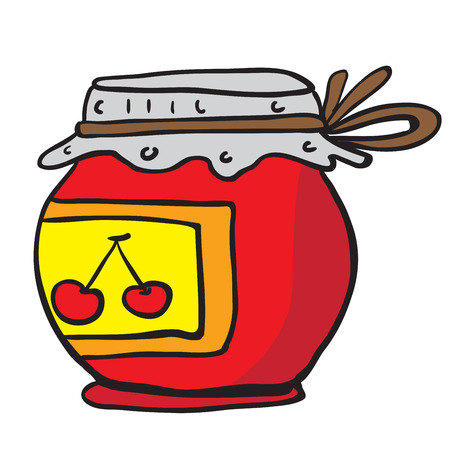 jam jar: cherry jam jar cartoon