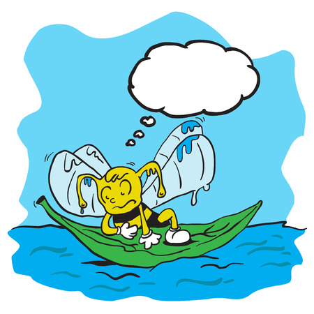 drowning: drowning bee with thought bubble cartoon Illustration