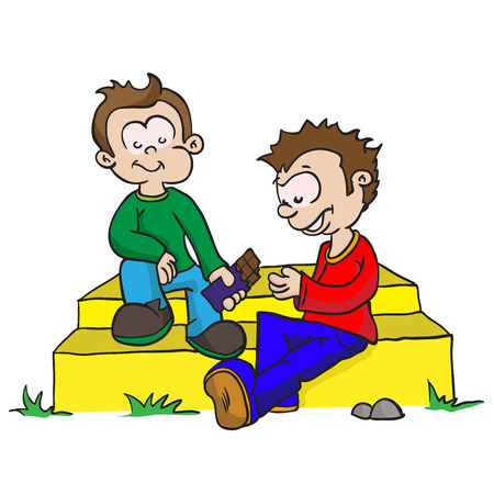 cartoon illustration of two boys sharing chocolate