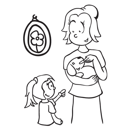 obedience: simple black and white mom feeding a dog cartoon Illustration