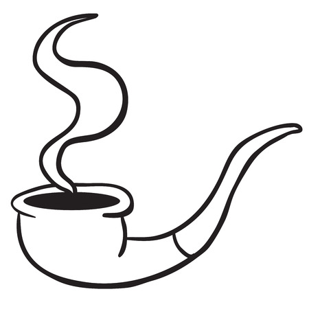 noxious: simple black and white smoking pipe cartoon