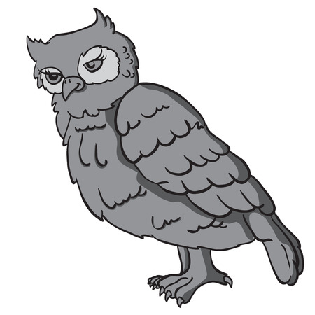 grey: grey owl cartoon illustration Illustration