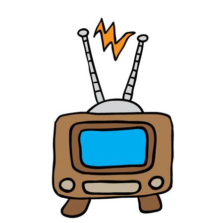 retro tv: retro tv cartoon illustration