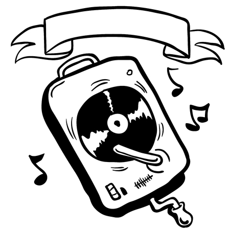lp: simple black and white record player with banner cartoon Illustration