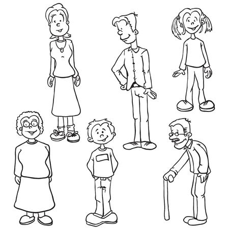 white family: simple black and white family set cartoon