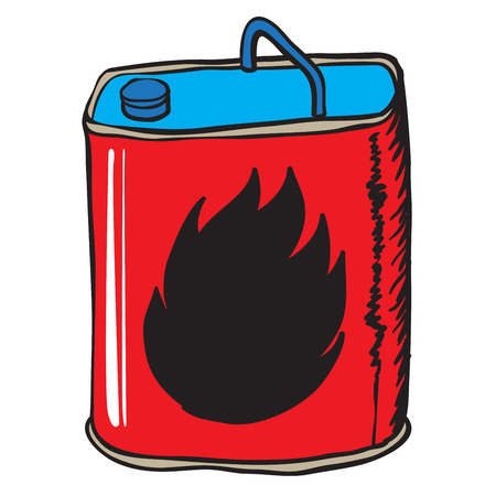 petrol bomb: red gasoline can cartoon doodle