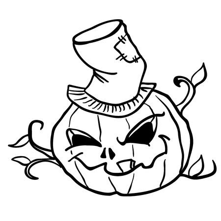 simple black and white pumpkin head cartoon Illustration