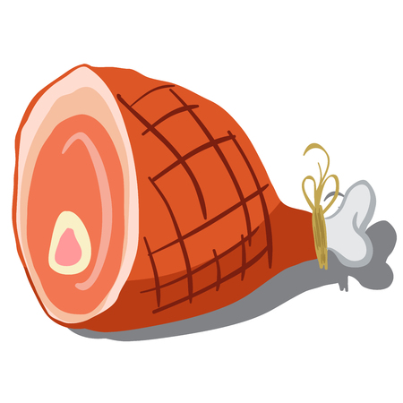 cooked meat: cartoon illustration of a ham isolated on white