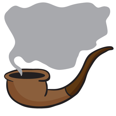 noxious: smoking pipe cartoon doodle with place for your text Illustration