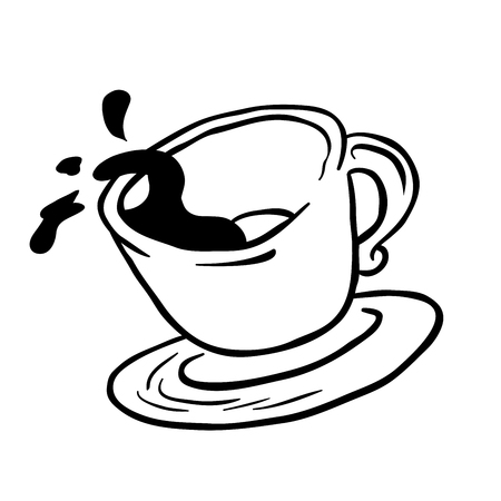 coffee spill: simple black and white coffee cup spill cartoon