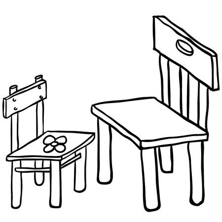 tubular: simple black and white chairs cartoon