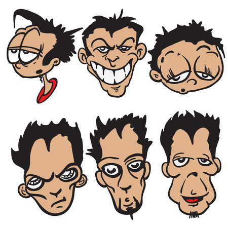 crazy hair: bunch of cartoon faces isolated on white