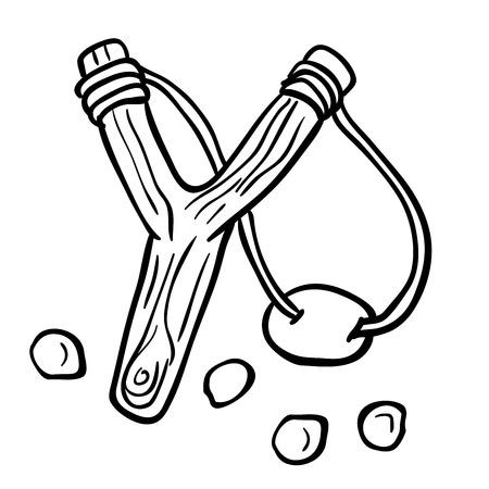 simple black and white slingshot cartoon