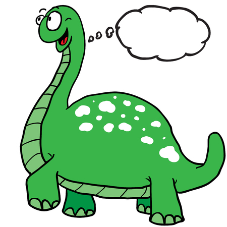 dinosaur with thought bubble cartoon