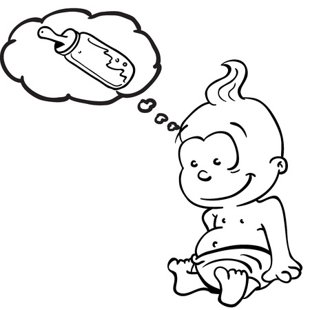 pediatrics: simple black and white cartoon baby thinks about milk bottle Illustration