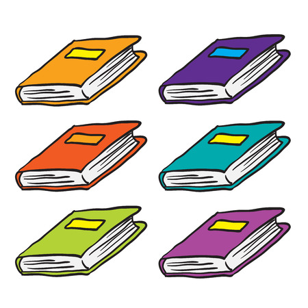 bookbinding: books cartoon doodle isolated on white