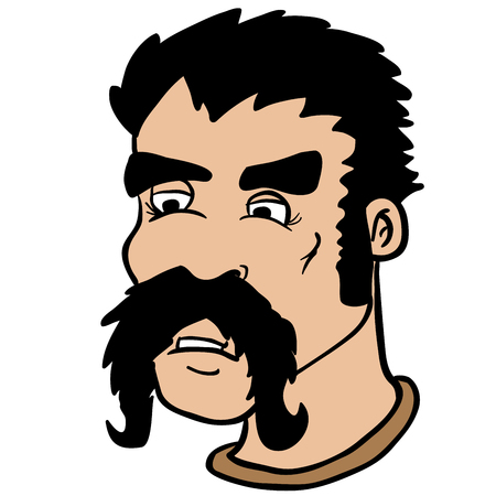 male face: moustache man cartoon illustration