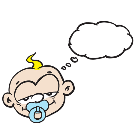 sleepy: sleepy baby with thought bubble cartoon
