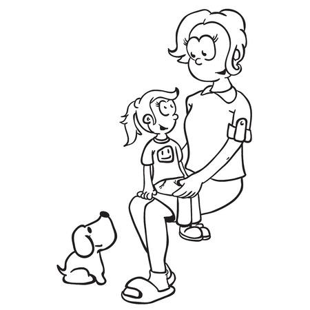 lap dog: simple black and white mom, girl and dog cartoon Illustration