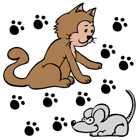 cat and mouse: cat and mouse cartoon illustration Illustration
