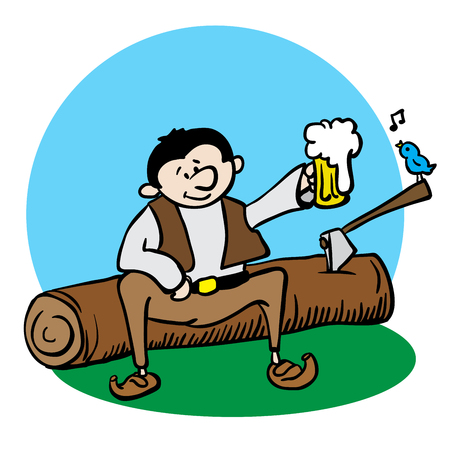 woodcutter: woodcutter resting and drinking beer cartoon illustration