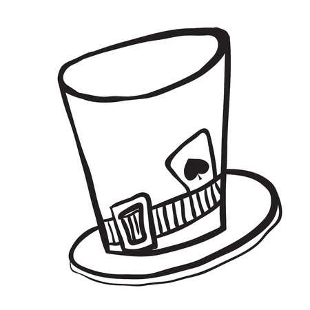 simple black and white mad hatters hat cartoon Illustration