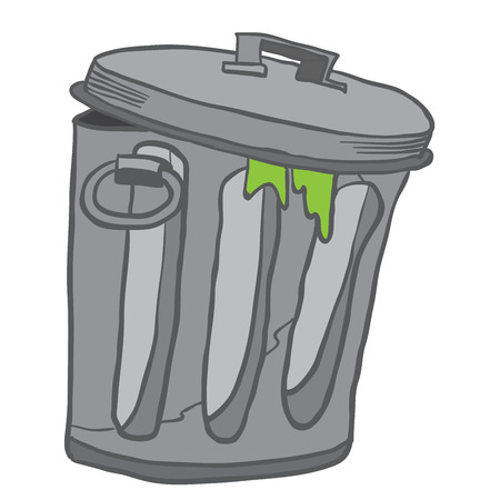 spoiled: garbage can cartoon illustration