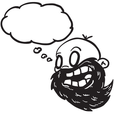 bald man: simple black and white bearded bald man with thought bubble