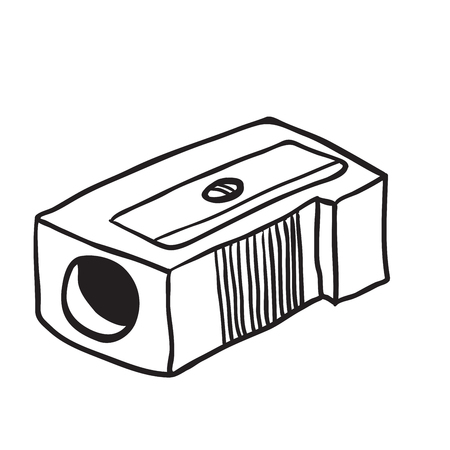 sharpener: simple black and white pencil sharpener cartoon