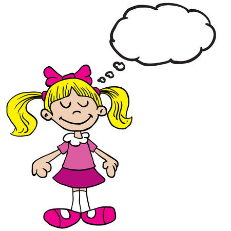 pink dress: little girl in pink dress with thought bubble cartoon illustration Illustration