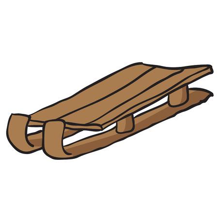 toboggan: wooden sleighs cartoon doodle