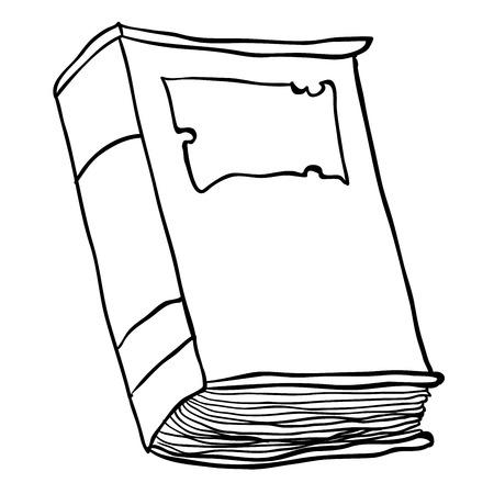 bookbinding: simple black and white old book cartoon