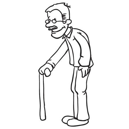 simple balck and white grandpa cartoon