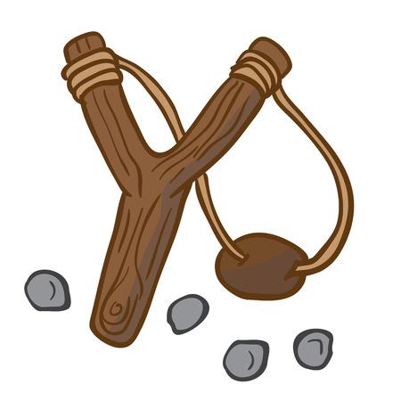 cartoon illustration of slingshot with some pebbles