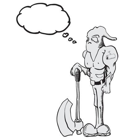 punisher: executioner with thought bubble cartoon Illustration