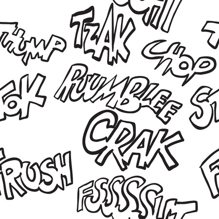 sounds: black and white comic sounds seamless pattern