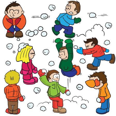雪玉の戦い漫画イラスト  イラスト・ベクター素材
