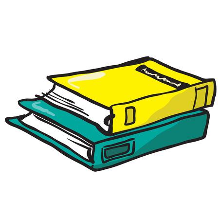 cartoon illustration of two books