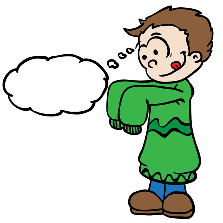 niños vistiendose: niño pequeño en ropa grande de la historieta con la burbuja del pensamiento